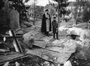 ПАКАО - Срушена православна црква, Петриња, јануара 1992. године