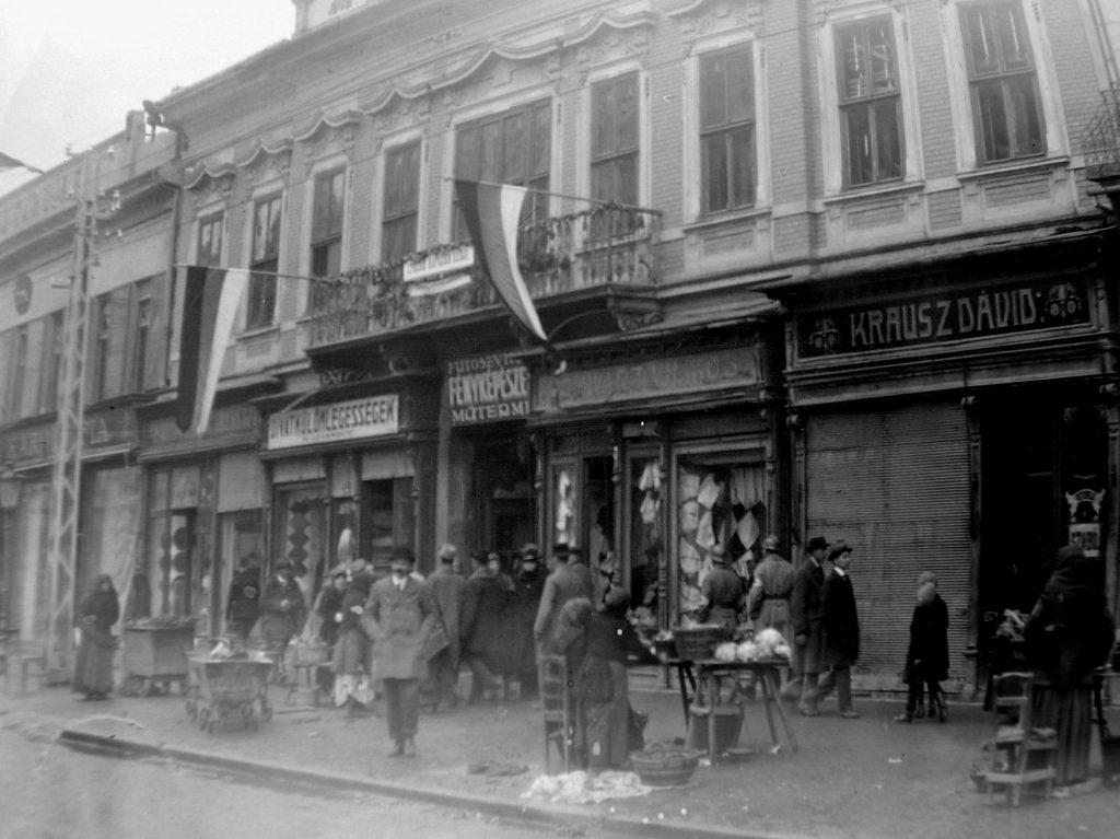 Зграда Матице српске(срушена после Другог светског рата) окућена српским заставама након ослободјења Новог Сада у јесен 1918. године