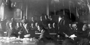 Седница Српског народног одбора у Матици српској уочи Велике народне скупштине на којој је донета одлука о присаједињењу Војводине Србији.